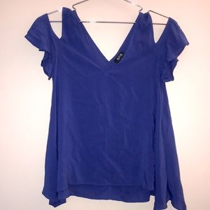 A.N.A Dark Blue Cold Shoulder Blouse Top SizeSmall